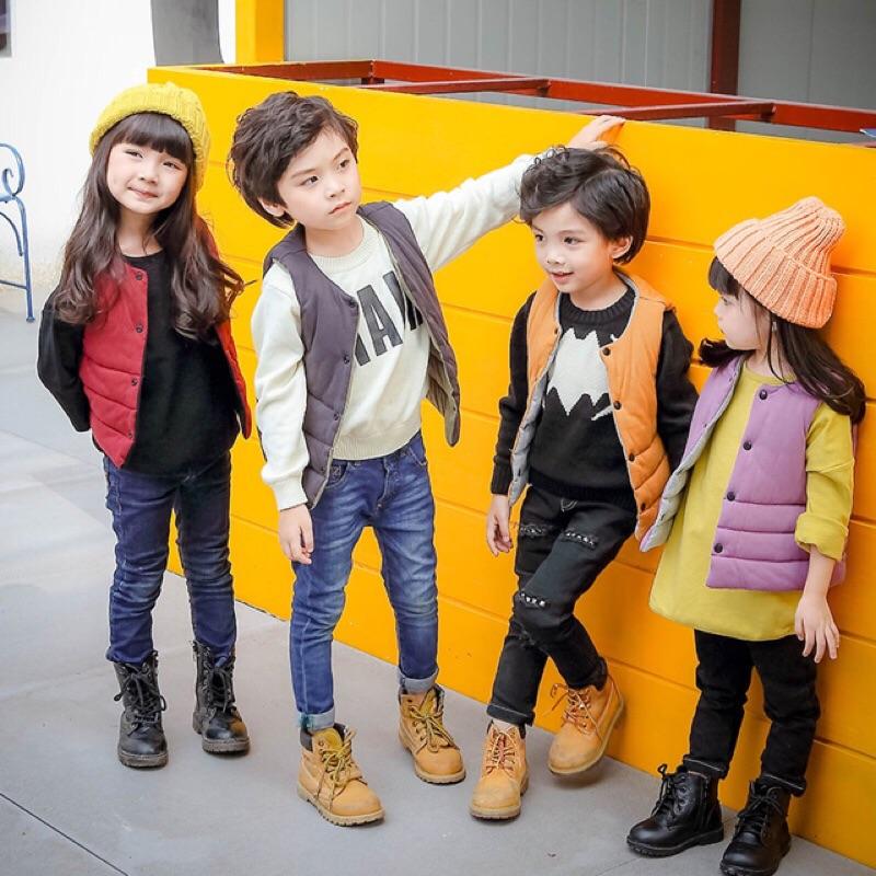 男童女童寶寶兒童小童嬰兒素面雙面單排扣無袖圓領外套背心馬甲X4 色鋪棉