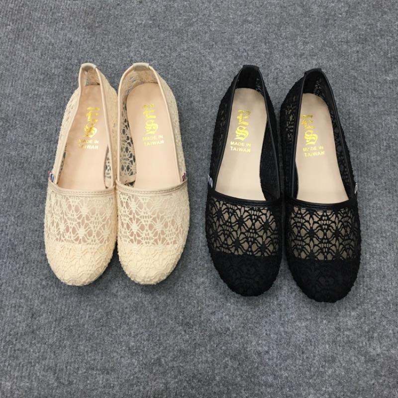 蕾絲懶人鞋娃娃鞋包鞋透氣鞋面MIT
