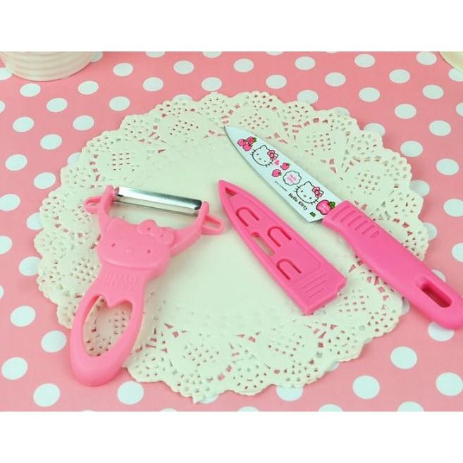 愛妮 ~Hello Kitty 水果刀蘋果削皮刀器剪刀套組廚房 不鏽鋼刨刀剪刀