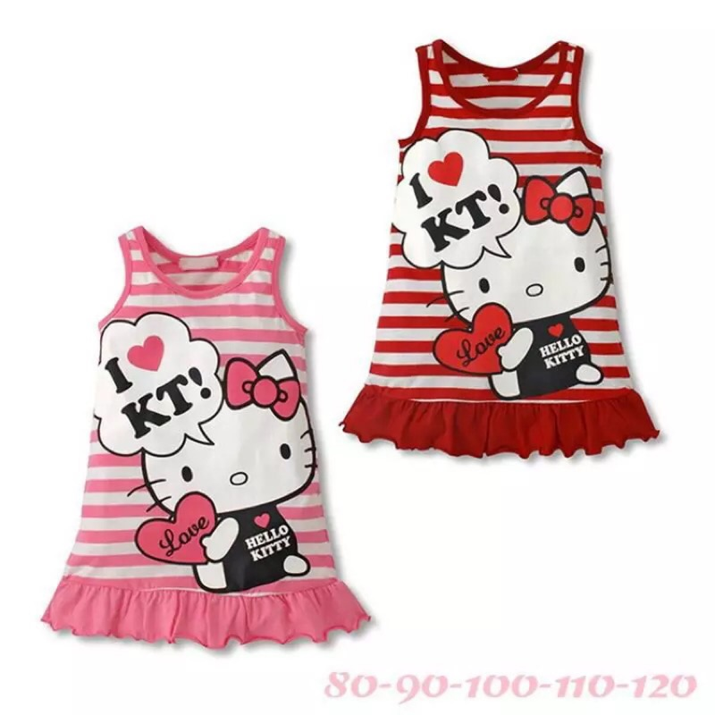 ❤️80 120cm 外單 hello kitty 童裙KT 貓條紋背心裙粉色系中小女童裙