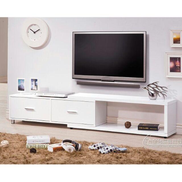 HY 16 肯特系列4 尺胡桃伸縮電視櫃白色胡桃色