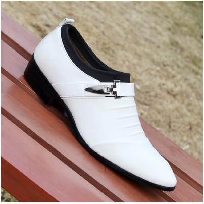 春 男士商務正裝皮鞋男鞋真皮低幫鞋 套腳尖頭白色皮鞋