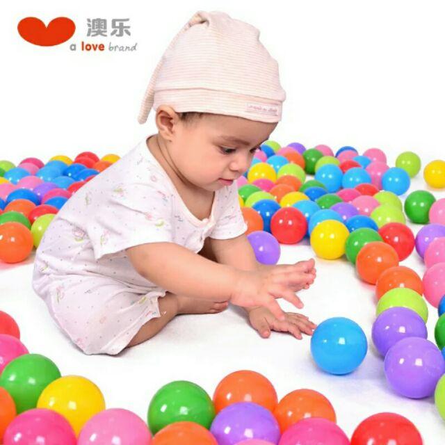 澳樂波波球海洋球寶寶塑料小球兒童玩具球嬰兒0 1 2 歲小孩彩色球