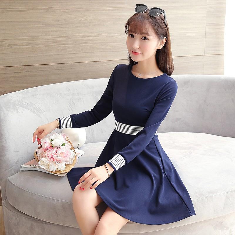 신데렐라仙度瑞拉的衣櫥~E6058  新品顯瘦收腰線條修身洋裝