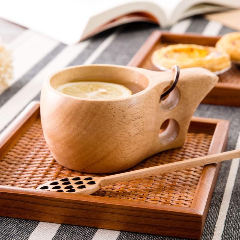 木質喝水杯子日式環保泡茶木杯雙層木杯子水杯茶杯咖啡杯