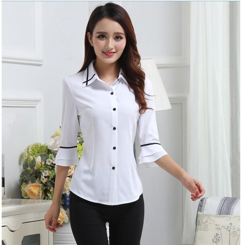 白襯衫女短袖職業裝 七分袖女雪紡衫喇叭袖襯衣修身中袖襯衫女
