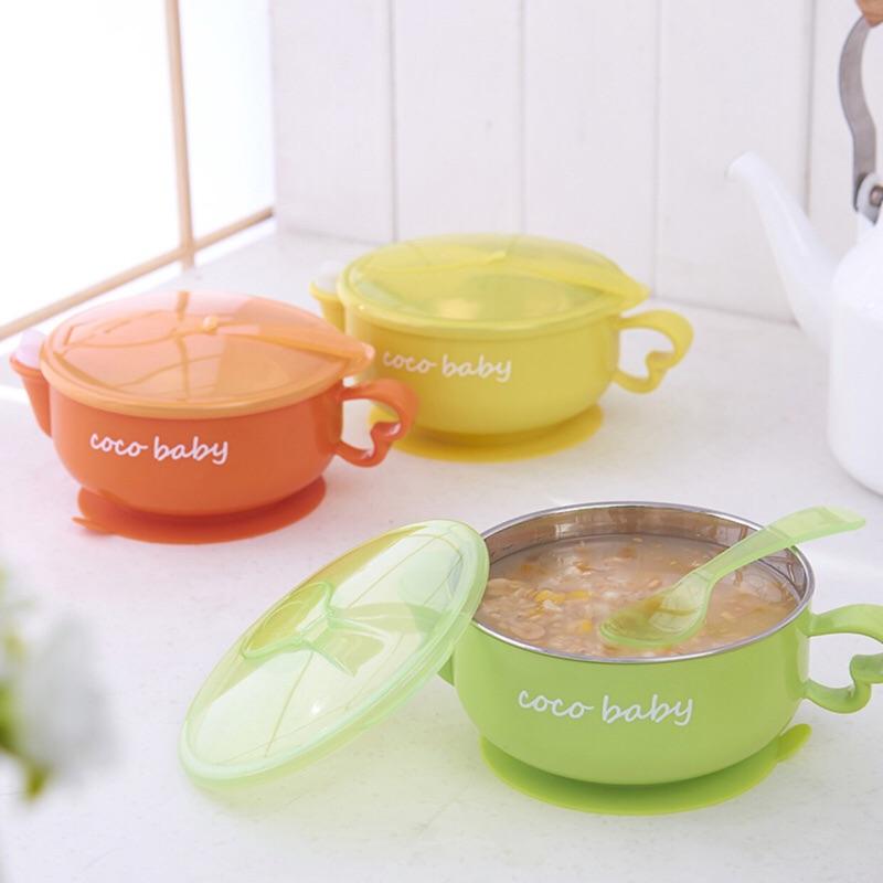 寶寶兒童注水不鏽鋼保溫碗強力吸盤外出 附湯匙副食品