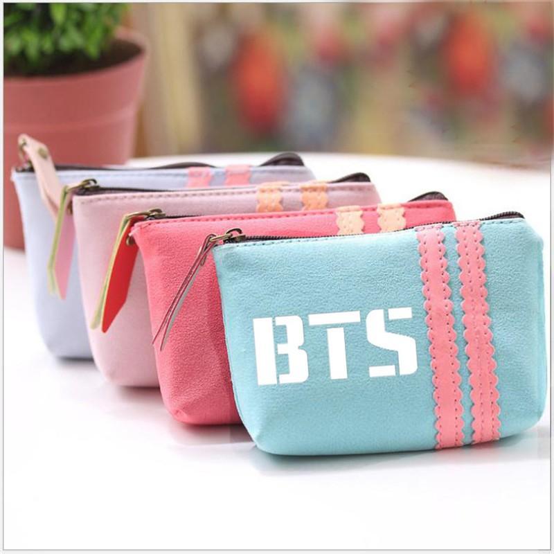 BTS 防彈少年團糖果色零錢包鑰匙包化妝包小包文具包文具盒收納包同款周邊