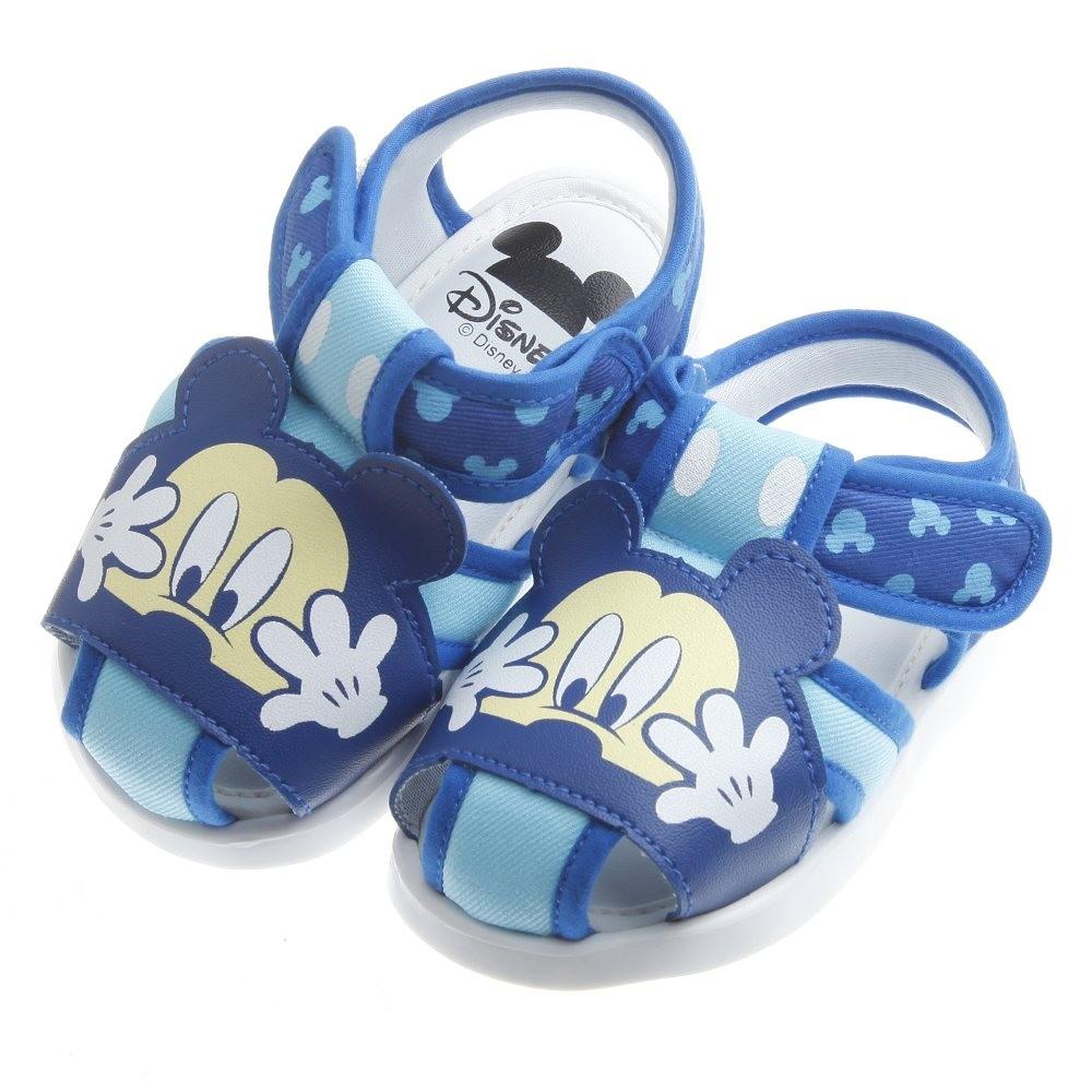 童鞋M ~Disney 迪士尼米奇趣味藍色布質寶寶嗶嗶學步鞋13 15 公分MAR210B