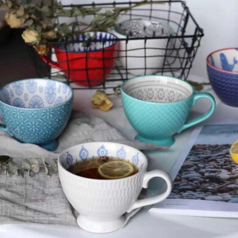 地中海復古浮雕彩繪陶瓷杯冰淇淋杯甜品杯早餐杯咖啡杯牛奶杯果汁杯