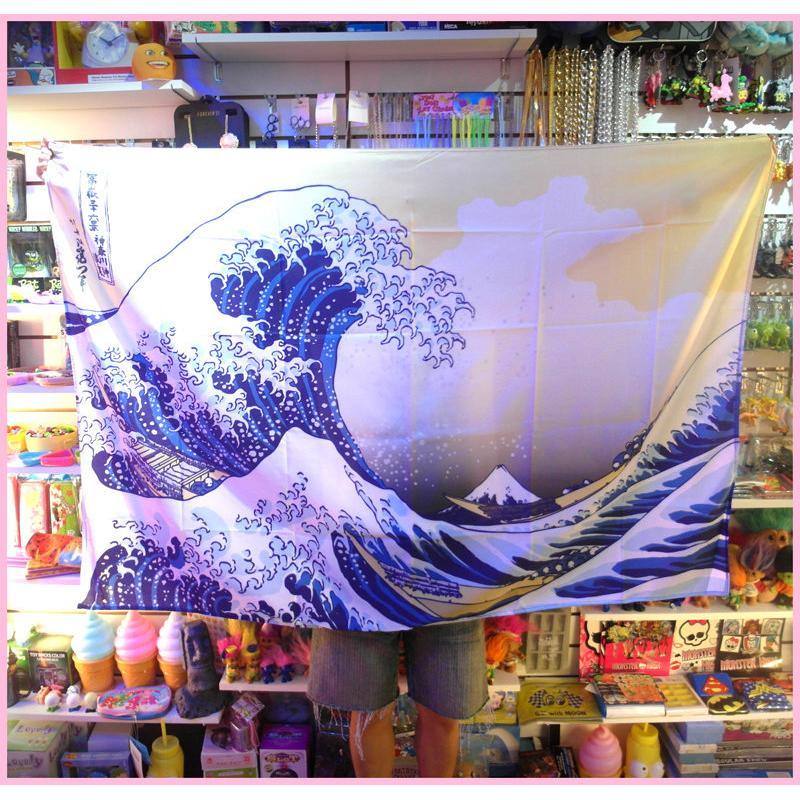 ~公雞漢堡~神奈川沖浪裏浮世繪海浪巨浪葛飾北齋中島時太郎掛旗掛布布條