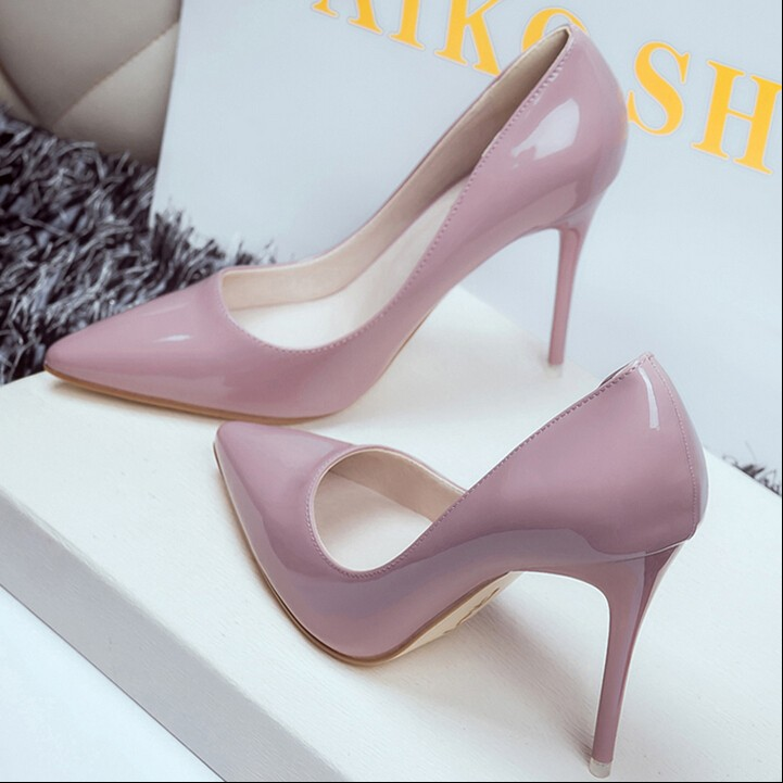 細跟性感尖頭高跟鞋漆皮面跟高10cm 包頭女鞋黑粉白紅