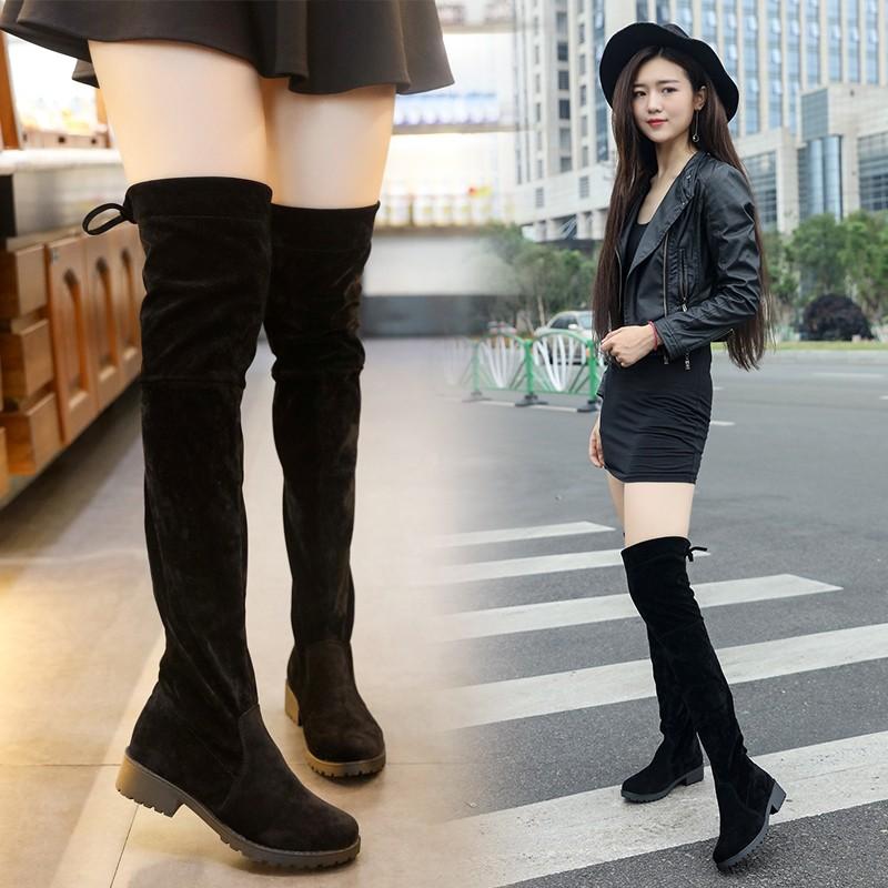 潮流美搭7 2016 款女黑色平底過膝長靴低跟磨砂絨面 彈力高筒靴長靴子