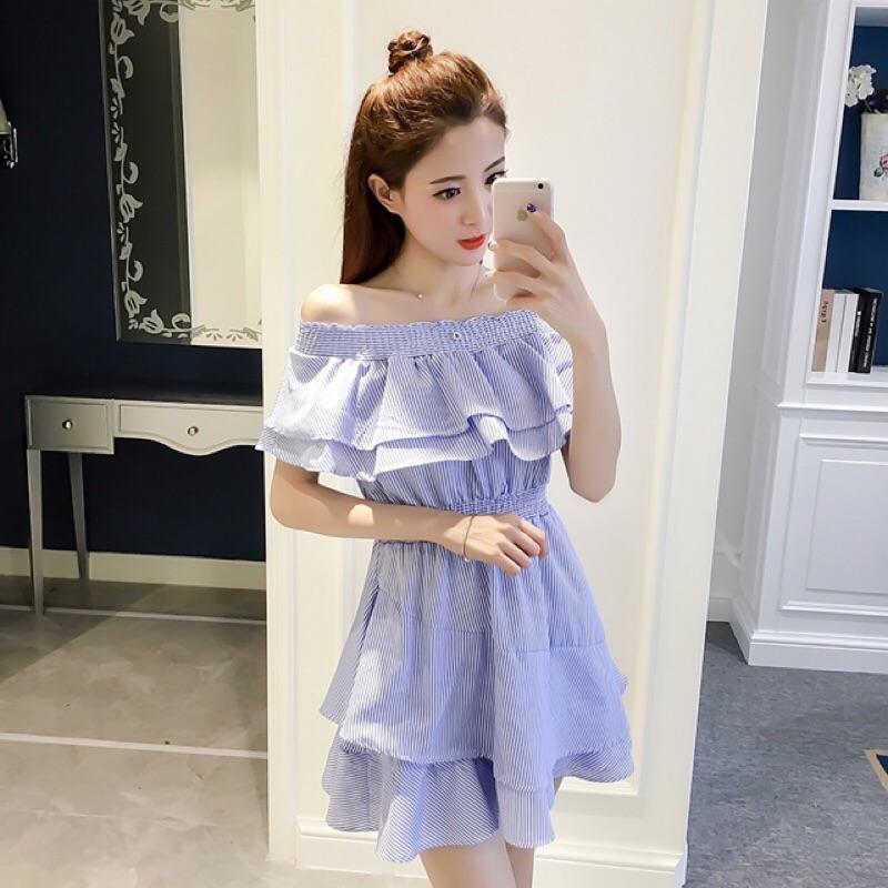 V C Trend ]實拍2017 春裝 清新氣質修身顯瘦條紋一字肩連衣裙露肩一字領藍白條