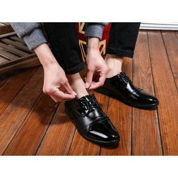 皮鞋男英倫尖頭真皮系帶 青年男鞋2016 男士商務正裝鞋子男