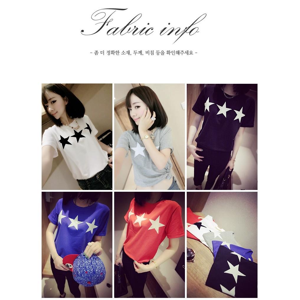 價韓國超 款 百搭修身顯瘦寬鬆清新純色五角星印花短袖T恤