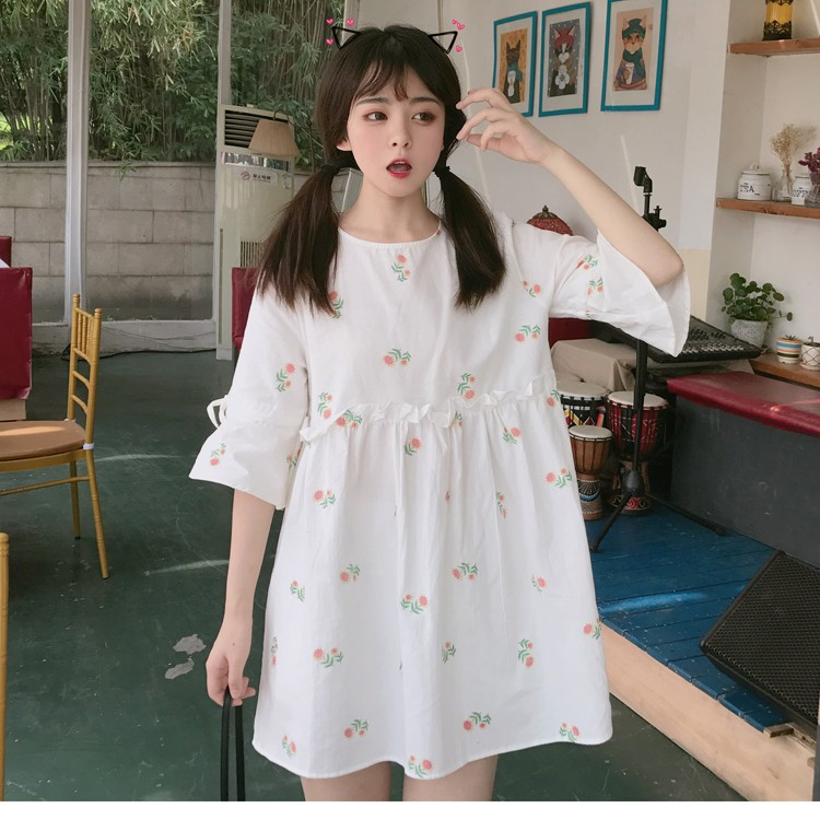 ❤實拍 正韓洋裝甜美喇叭袖高腰寬版連身裙 寬鬆大碼休閒A 字裙