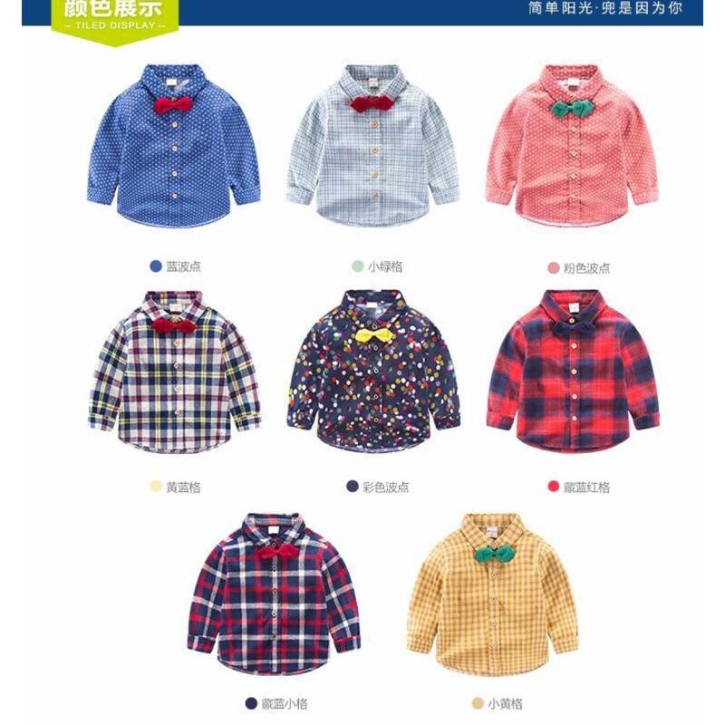 秋裝2016  寶寶上衣春秋格子兒童長袖襯衫