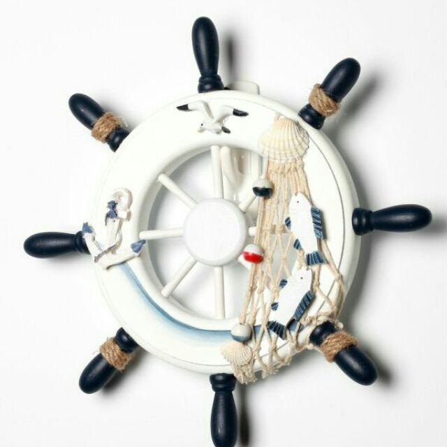 海洋風夏日風情地中海舵手裝飾輪舵裝飾酒吧裝飾客廳裝飾壁掛航海舵手23cm