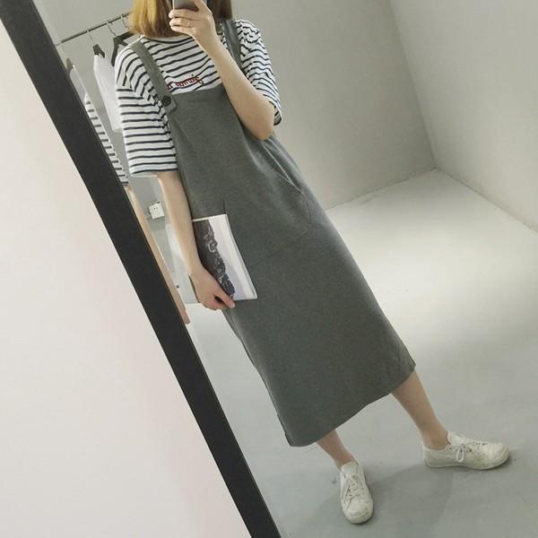 2016  ~潮流款黑灰刷破感吊帶裙 單品16A