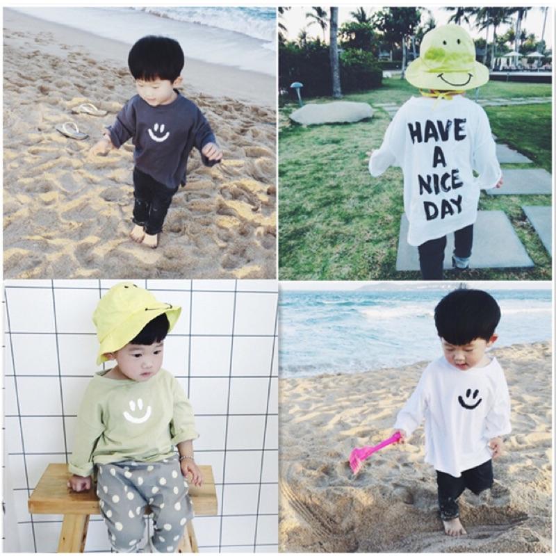 蓁誠 女童男童兒童寶寶小童寬鬆微笑笑臉字母背後印花長袖圓領T 恤上衣