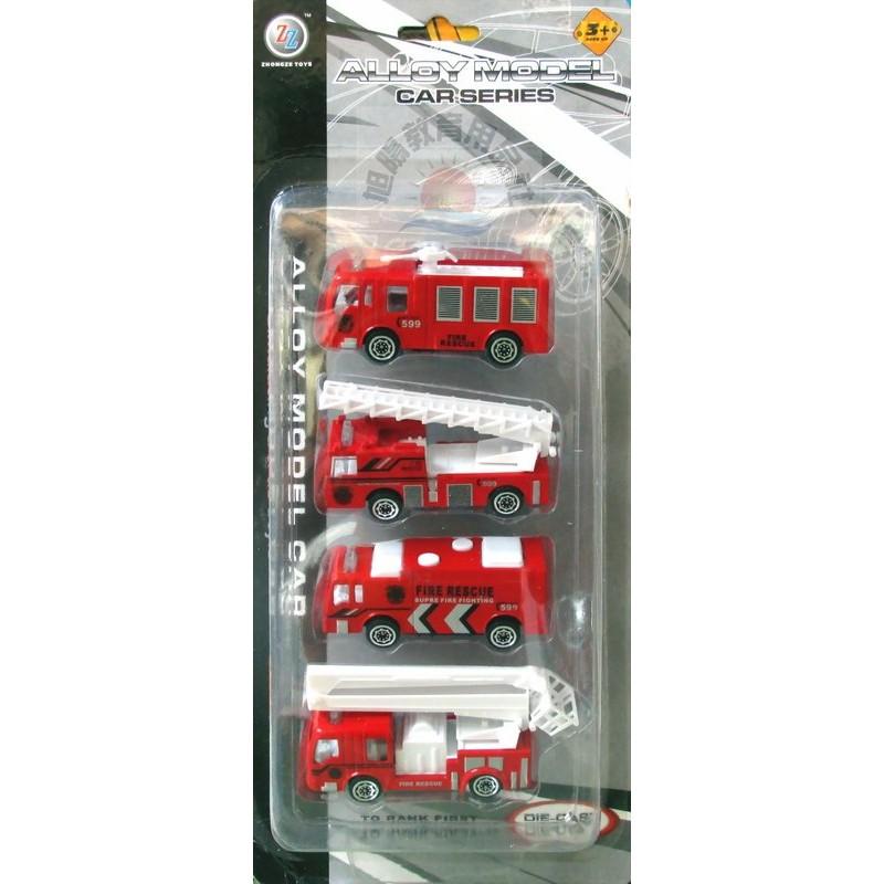 ~旭陽教育用品社~仿真合金模型車合金消防大隊模型玩具套裝組四台裝消防車模型場景玩具合金玩具