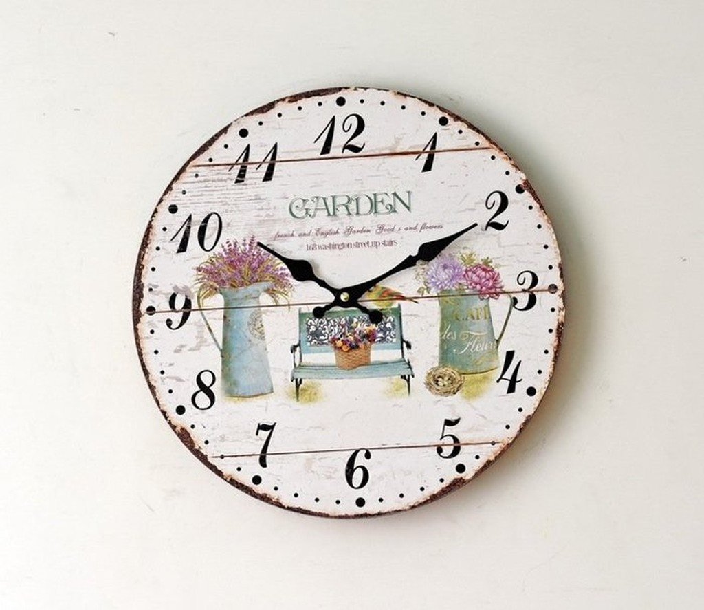 ◕‿◕。巴黎香戀❤ZAKKA 家居實木掛鐘無框壁鐘鄉村風牆貼鐘客廳靜音掛鐘0002A8