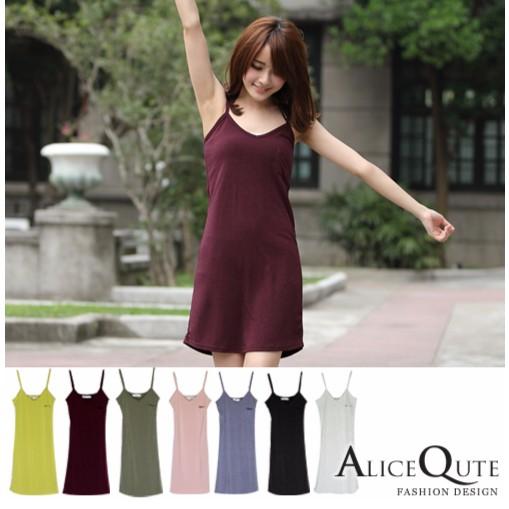 AliceQute 素面單口袋細肩帶背心裙內搭襯裙舒適內衣共6 色單一 製 可靠CSA01
