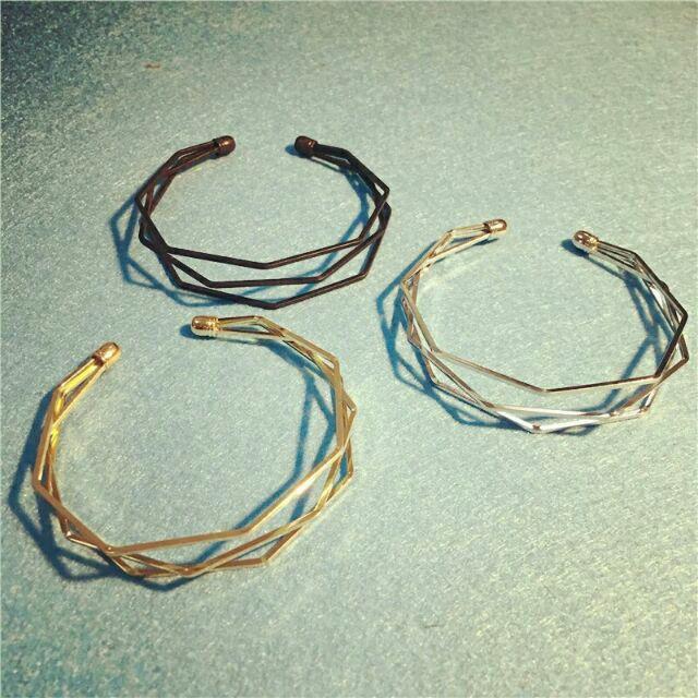 玫瑰金  金屬幾何多層次百搭開口手鐲手環