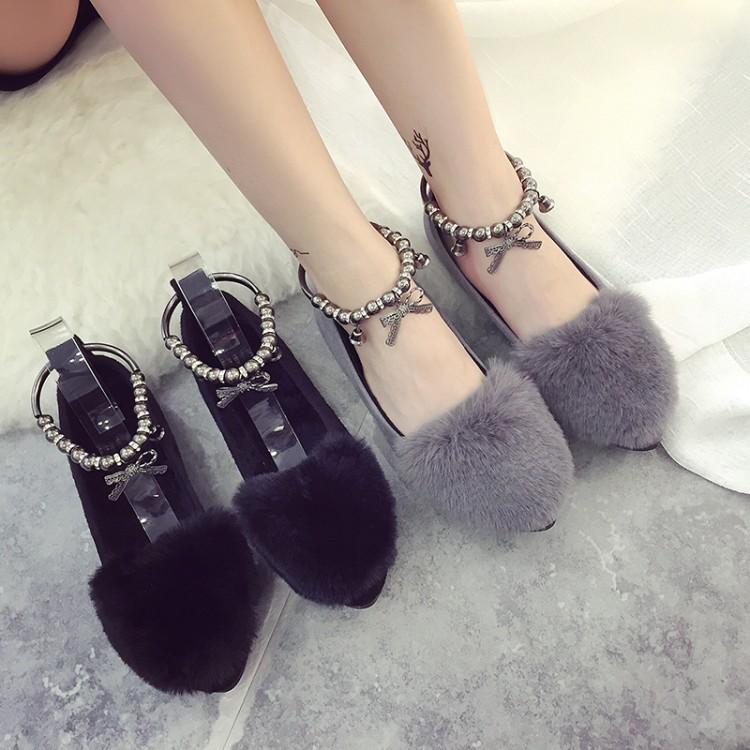 蝴蝶結懶人鞋單鞋女毛毛豆豆鞋淺口平底鞋加絨棉瓢鞋女鞋休閒鞋