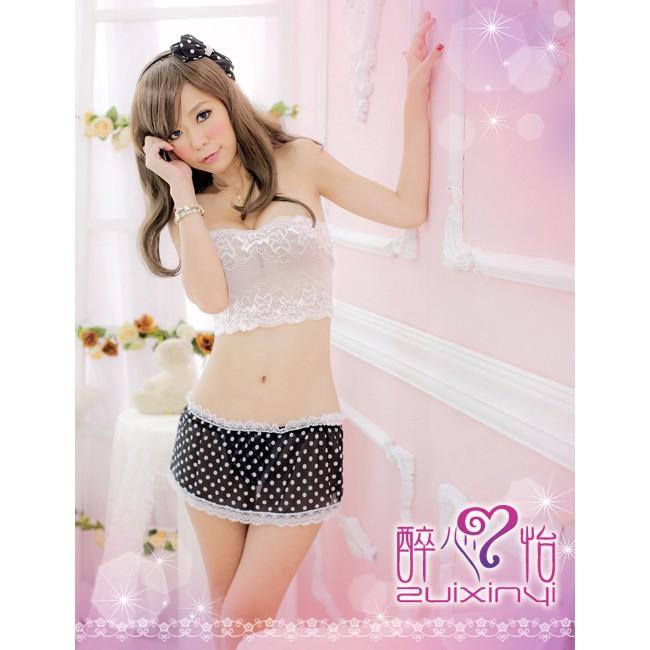 角色扮演白色蕾絲小可愛 黑色點點短裙情趣睡衣性感睡衣拍照攝影服裝9236 花園館
