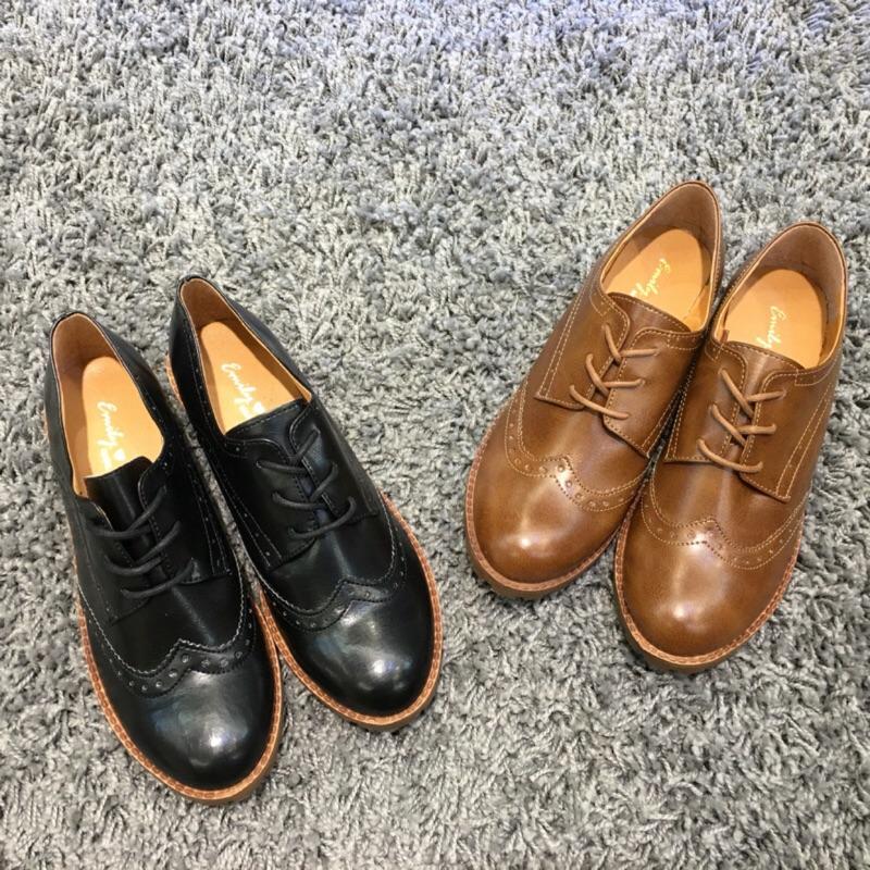 MIT 雕花牛津復古粗跟休閒牛津鞋英倫風綁帶樂福鞋❤️ 490 元 350 元