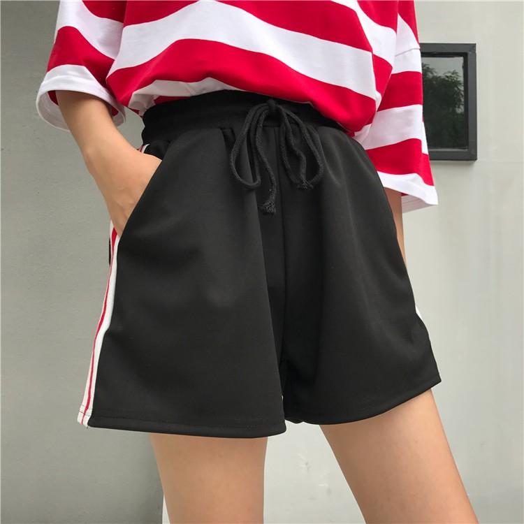 ~  ~2017 夏 學生 紅白條紋系帶 風高腰短褲休閒褲舒適 褲薄款大碼女褲直筒褲熱褲