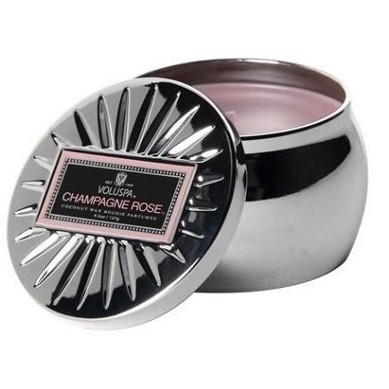 只是貼紙黏不緊問題4 5 盎司Voluspa Ch agne Rose 香檳玫瑰小錫盒蠟燭