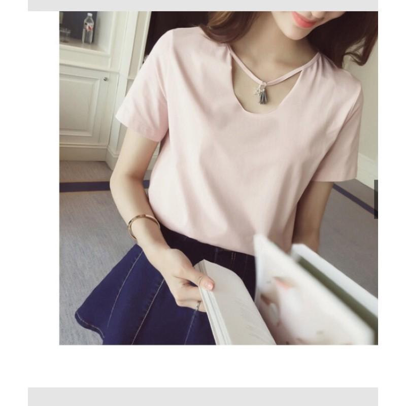 韓國小性感領口鏤空白色素T 短袖百搭寬鬆上衣圓領流蘇項鍊t 恤女
