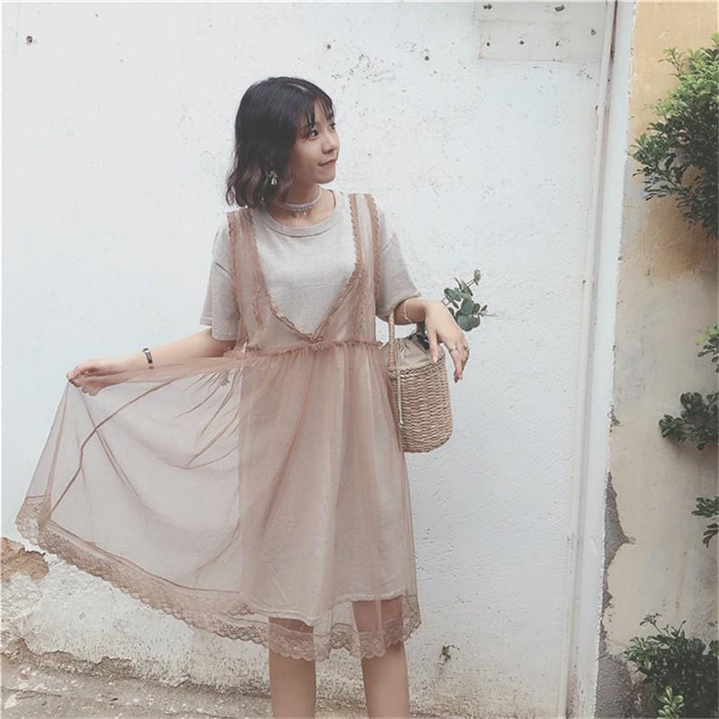 休閒套裝 寬鬆 網紗背心連衣裙條紋中長裙