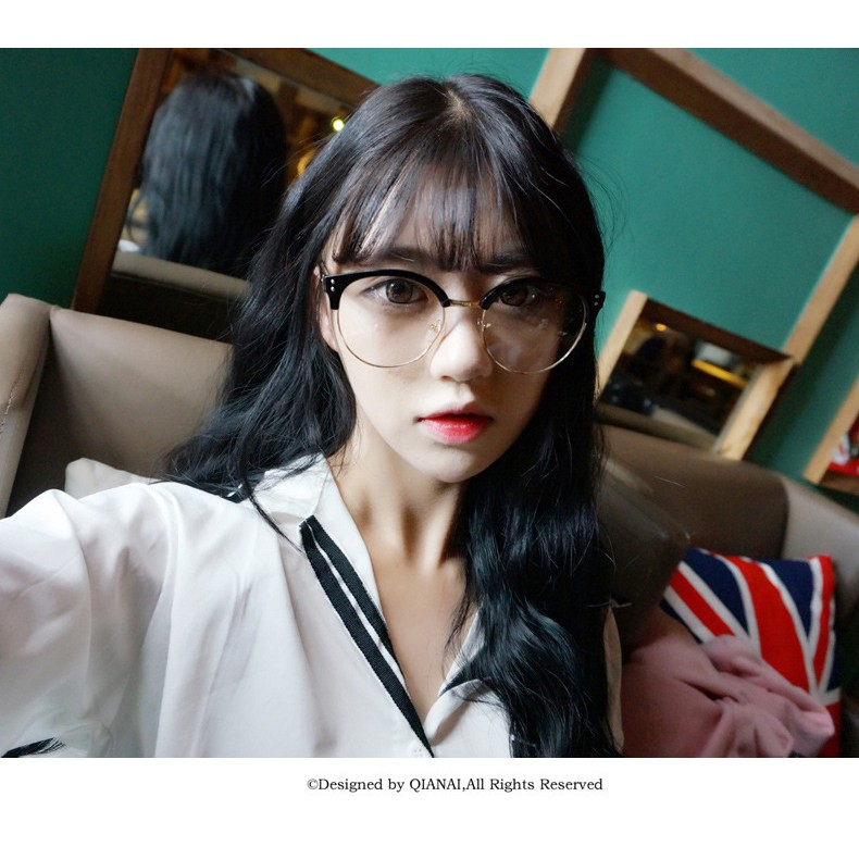109 元 金屬半框平光鏡貓眼鏡框鏡架鏡潮男金屬修型圓框眼鏡