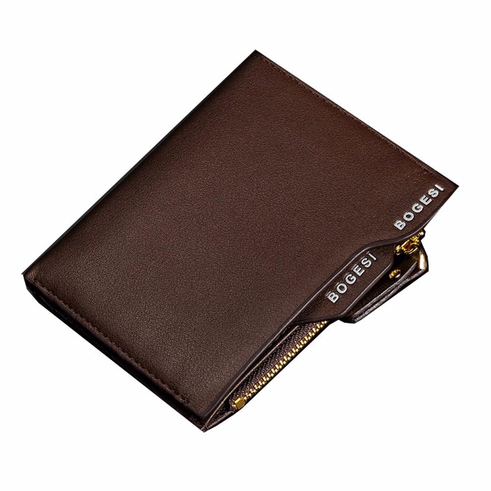 男士正品真皮短款錢包 豎款牛皮拉鍊錢夾 插卡駕駛證零錢包BID054 PM20