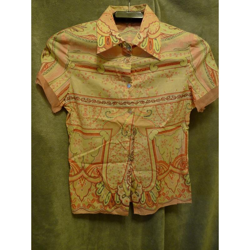 復古襯衫美品粉橘紅色系變形蟲花紋短袖襯衫retro vintage 復古古著風 未穿過