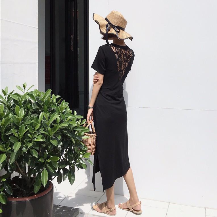 條紋間約修身蕾絲洋裝 後背蕾絲拼接下擺女裝系帶開叉ulzzang 顯瘦中長款連衣裙
