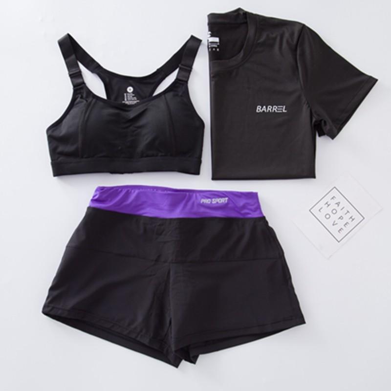 健身服女瑜伽服套裝健身房 跑步服速乾上衣防震文胸短褲三件套