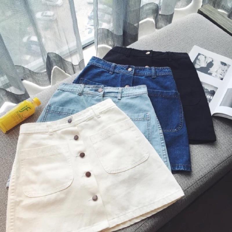 2016 春裝 修身顯瘦氣質百搭純色單排扣A 字高腰牛仔短裙女