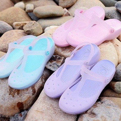 中 平底洞洞鞋瑪麗珍果凍鞋花園水晶女沙灘涼拖鞋果凍