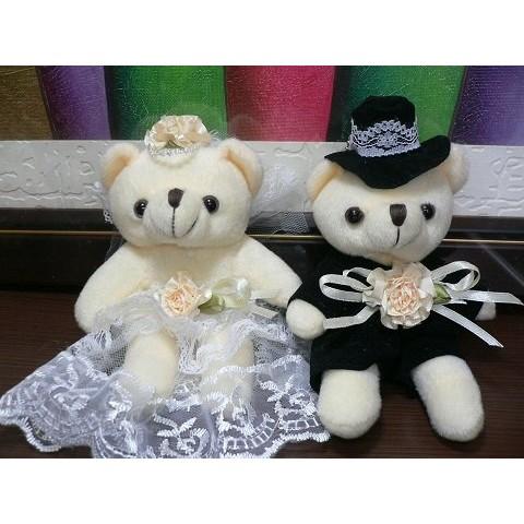 網上最 超精緻新郎新娘對熊13cm 公分婚紗熊結婚禮小物二次進場送客 婚宴囍糖伴娘禮探房禮