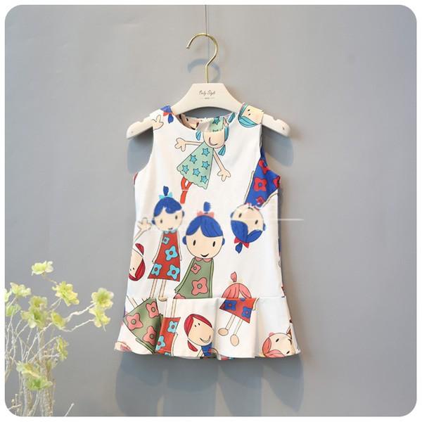 兒童 卡通女孩修身甜美背心裙
