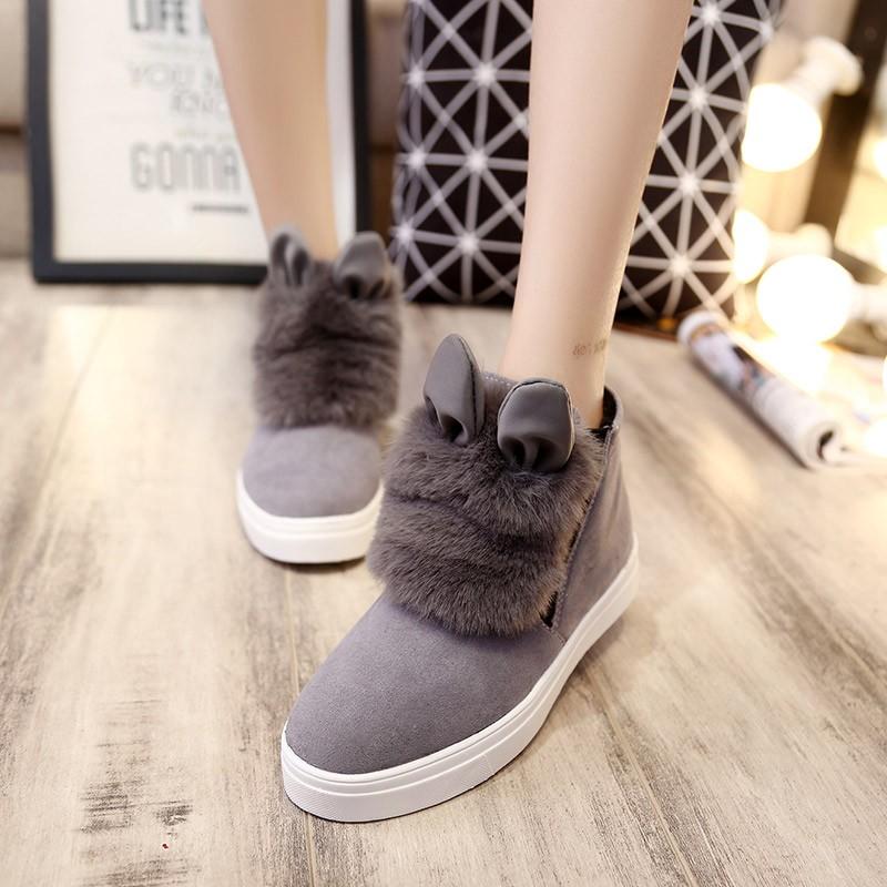 兔耳朵毛毛鞋厚底秋 加絨女鞋兔毛雪地靴短筒女靴平底短靴棉鞋