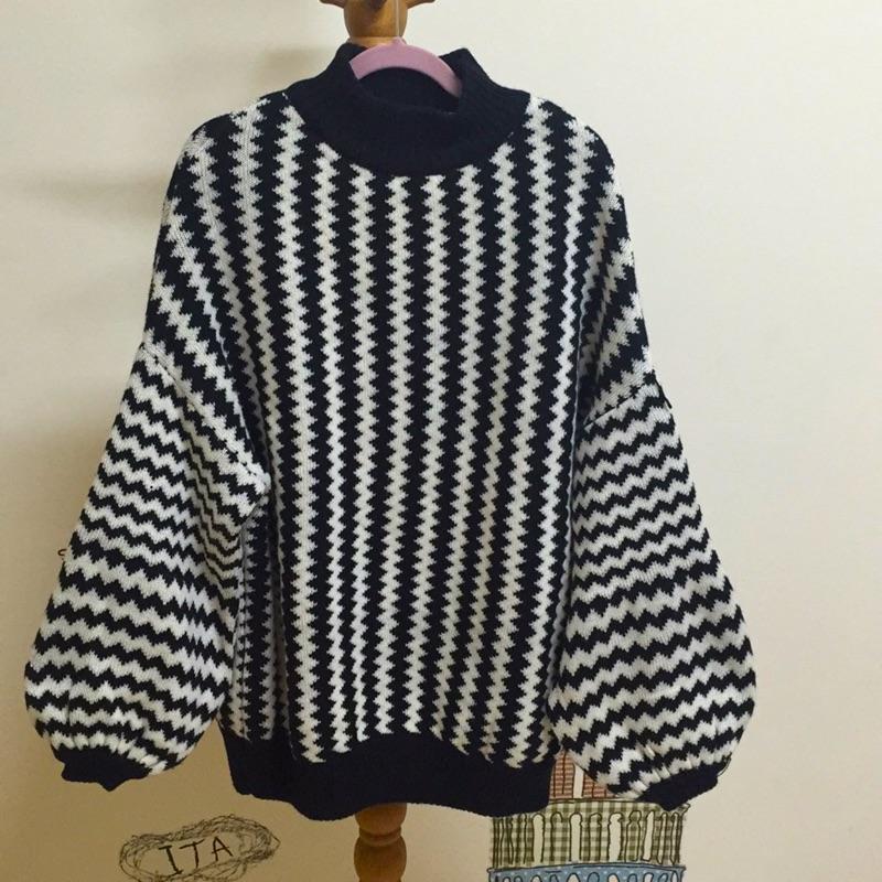 高領宮廷袖毛線上衣