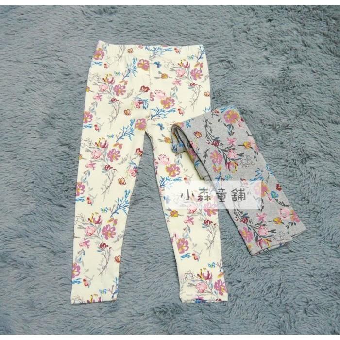 小森童舖正韓 女童復古小花系列棉質內搭褲灰色白色5 7 9 11 13 15 號