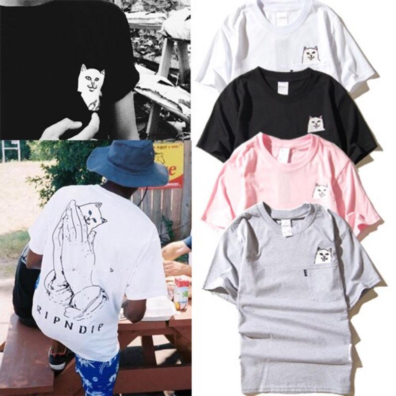 中指貓Ripndip 賤貓口袋t 恤短袖tee 情侶裝黑白灰純棉學生男裝打底衫潮