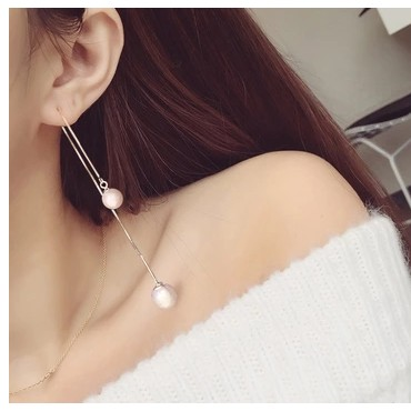 銀飾耳鏈韓國氣質純銀珍珠耳墜耳線長款防過敏流蘇耳環耳釘